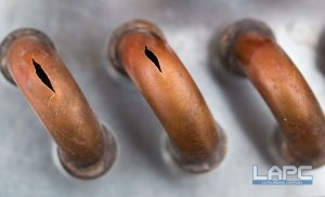 Burst Copper gas line pipes from the cold